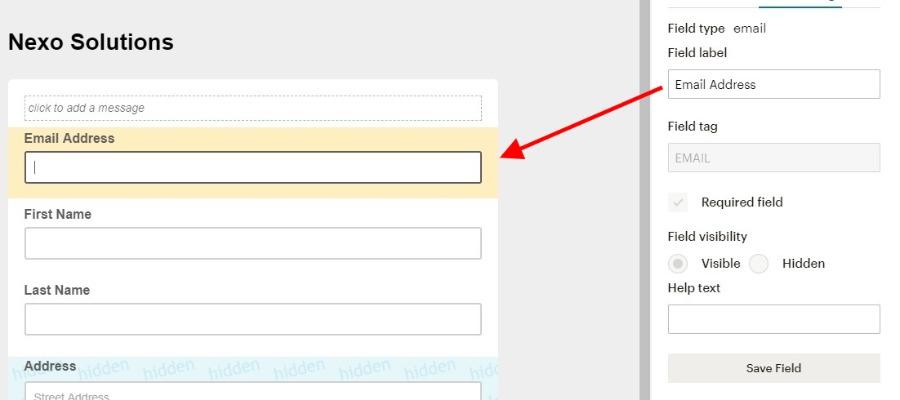 Configuration champ formulaire mailchimp