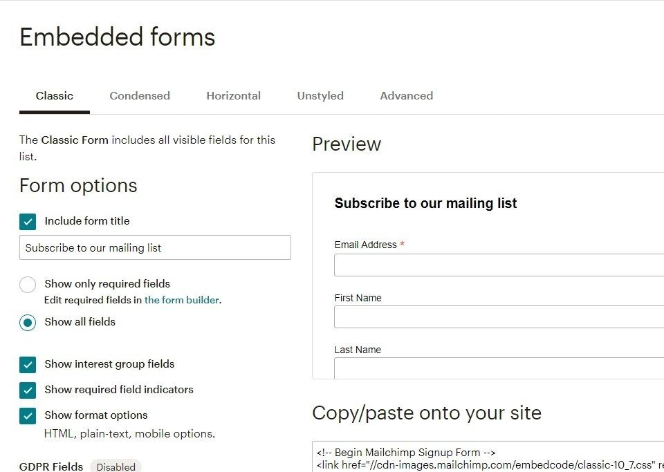Creation formulaire mailchimp