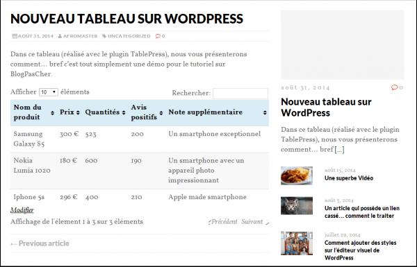 comment ins rer facilement un tableau sur wordpress avec le plugin tablepress blogpascher. Black Bedroom Furniture Sets. Home Design Ideas