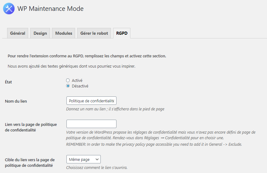 comment mettre blog wordpress en mode maintenance blogpascher rgpd