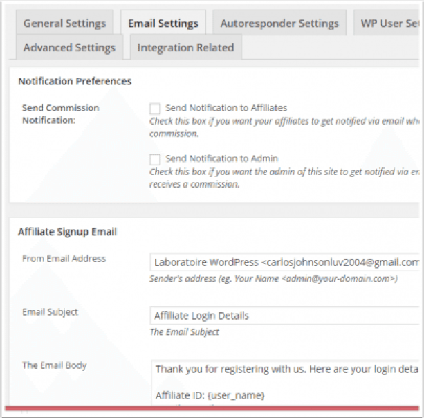 email-settings-wp-affiliate-plateforme