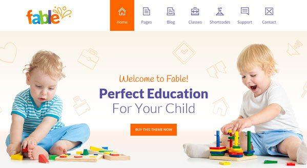 Fable theme wordpress pour creer un site pour enfant bebe