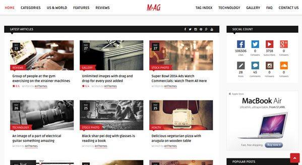 MAG theme wordpress pour blog blogueur magazine web