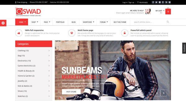 Oswad: un tema de WordPress para crear un sitio de comercio ...