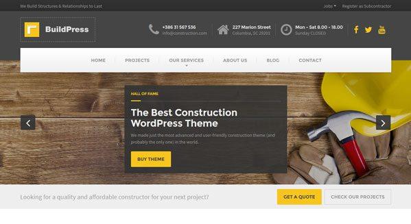 construction theme wordpress pour plombier entreprises isolation