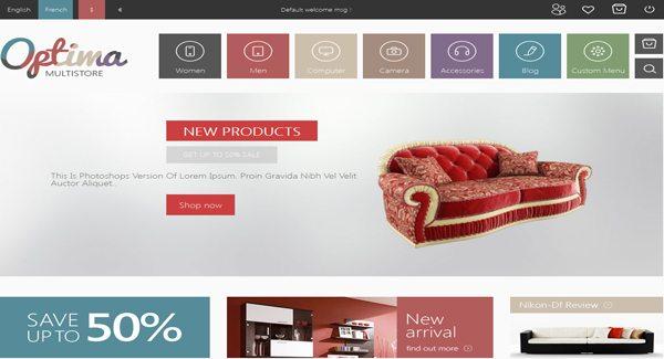Optima Thème Prestashop Creer boutique en ligne de decoration