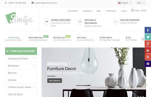 Smije responsive th me magento e commerce meuble cr er - Site de meuble en ligne ...