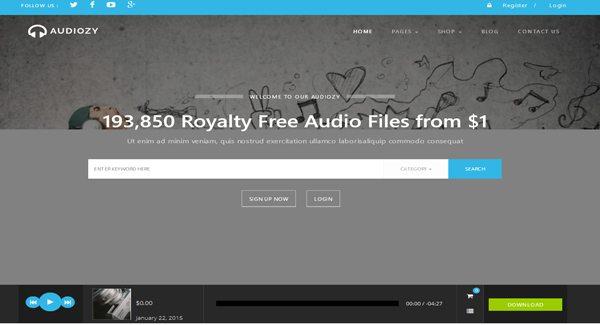 Audiozy Un Thème WordPress pour créer un site e Commerce de musique