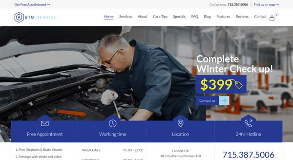 Auto repair theme wordpress creer site web vitrine for Garage reparation auto