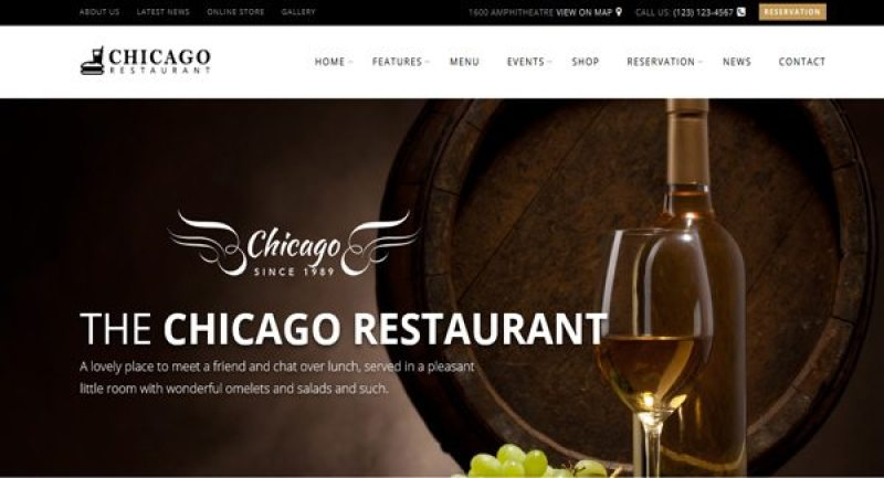 Chicago-theme WordPress theme for website-of-restaurant creation