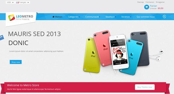 Leo Metro Thème Prestashop pour vendre des Ipods