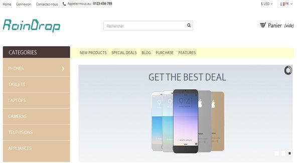 Raindrop Thème Prestashop pour vendre des produits Hi Tech