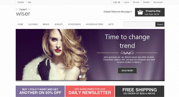 Wiser Thème Prestashop pour vendre des vêtements sur internet