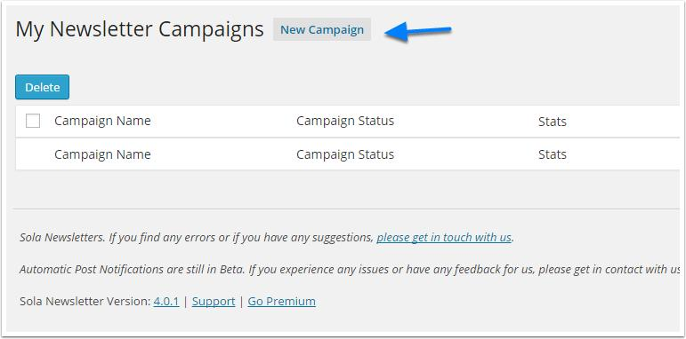 create-a de nova-campanha botão