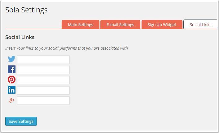 links de Widgets sociais