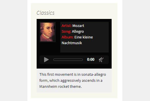 Tek müzik-widget gösteri