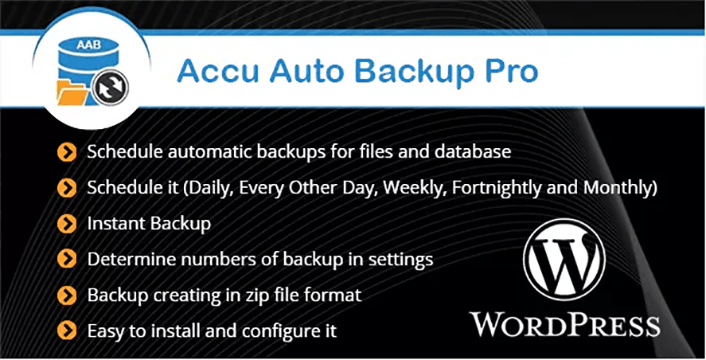 meilleurs plugins WordPress - Accu auto backup pro
