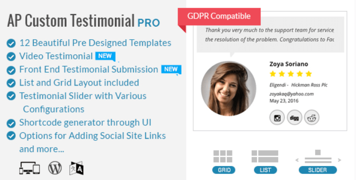 Ap custom testimonial pro plugin to showcase user google places testimonials for wordpress
