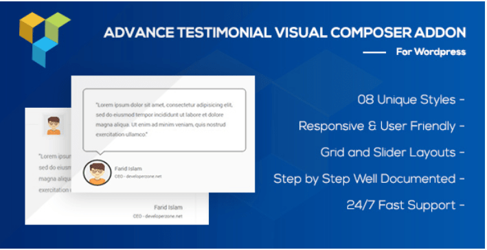 Advance testimonial addon for wordpress formerly visual composer
