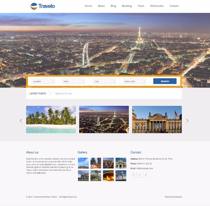 Travelo un th me wordpress pour cr er un site de for Site de reservation