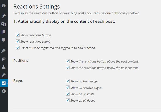 Plugin DW Reaction để thêm phản hồi trên trang cài đặt WordPress