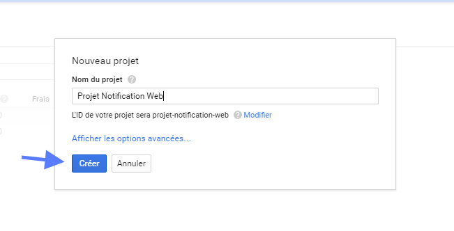 Nouveau projet notification web google wordpress tutoriel