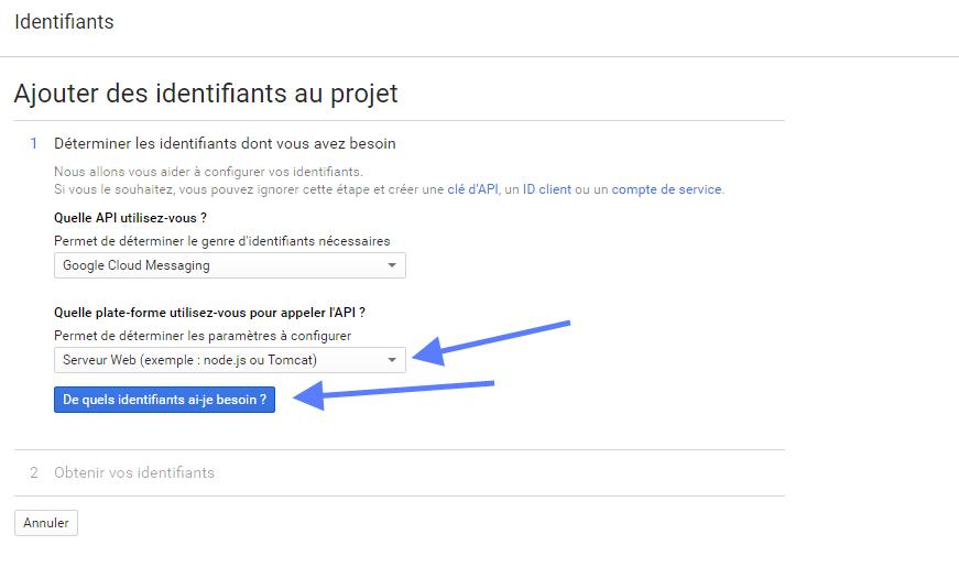 Sélection d'identifiants Google Cloud Projet