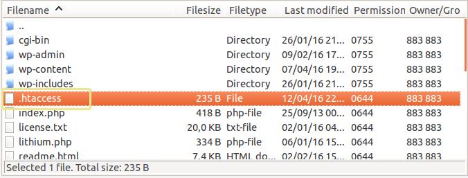 Télécharger le fichier htaccess sur WordPRess