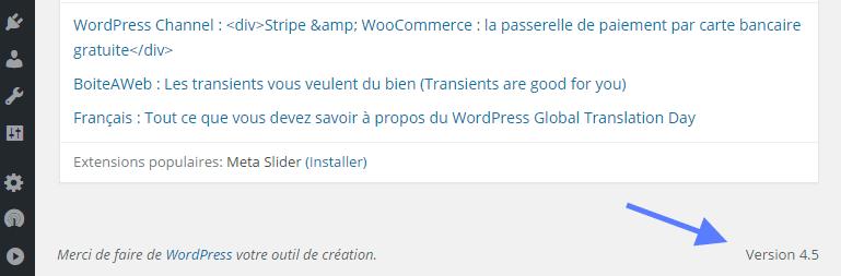 Version de WordPress Tableau de bord