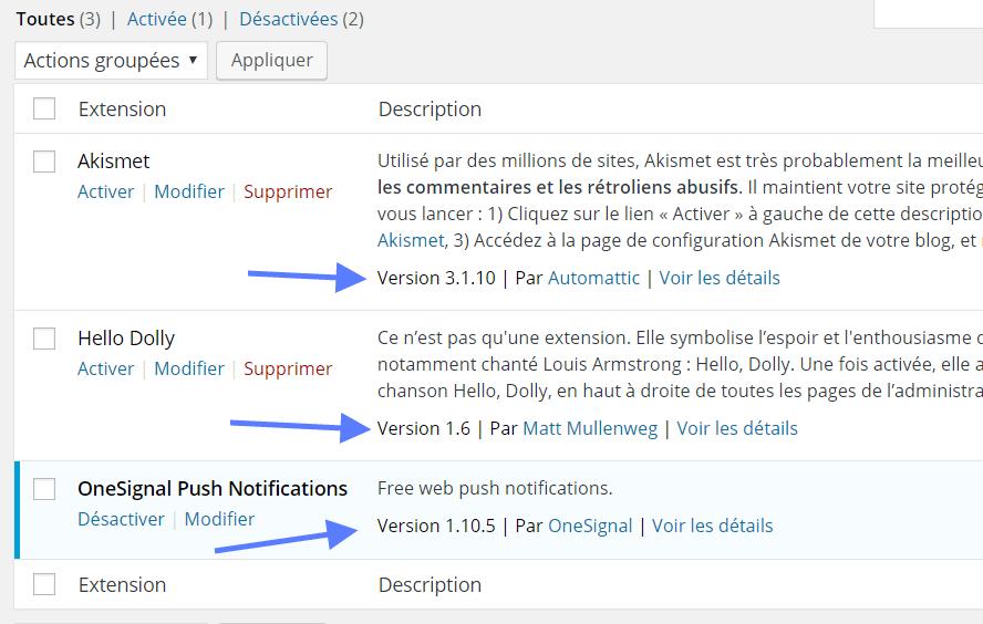 Versão do WordPress plugins