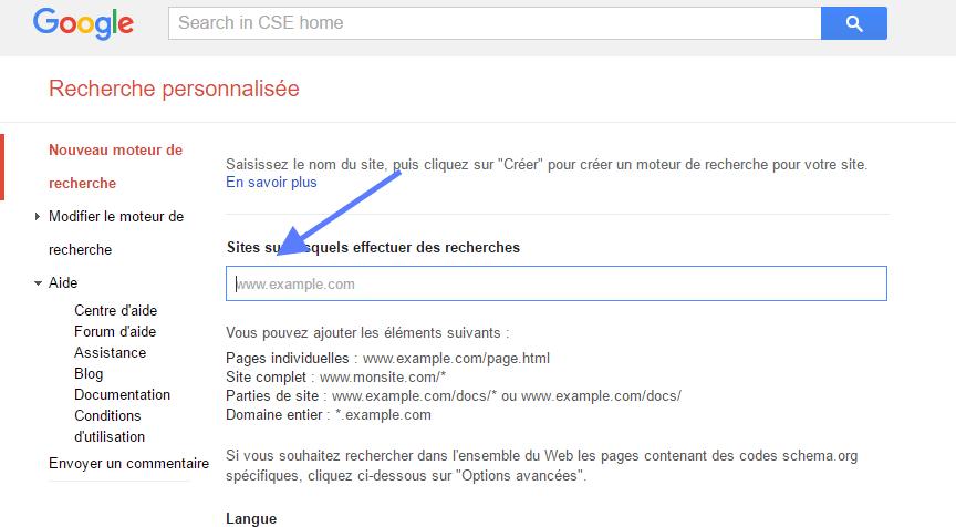 WP Google Search ajouter d'un site pour le moteur de recherche