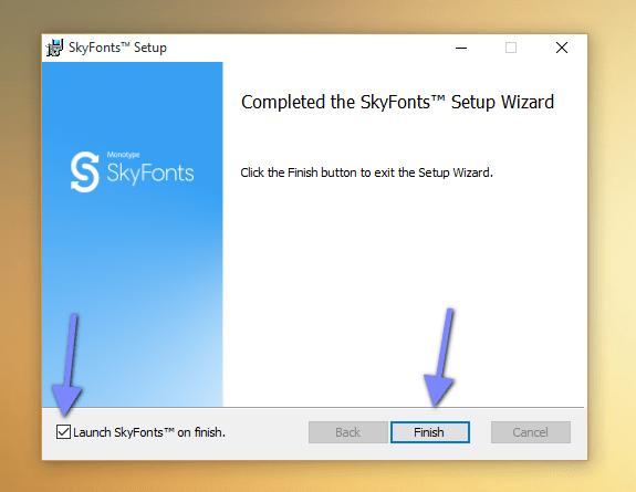 SkyFonts instalação final como adicionar fontes no Windows