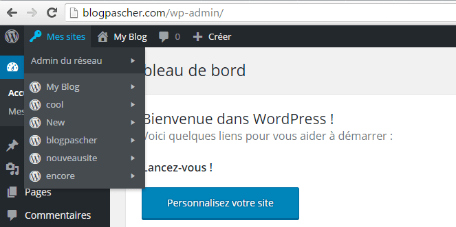 novo WordPress dashboard