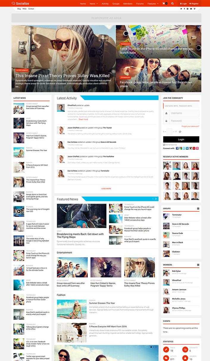 Il est livré avec des fonctionnalités telles que : la connexion au site via Facebook, Google Plus ou twitter, un compteur de notifications, une mise en page.