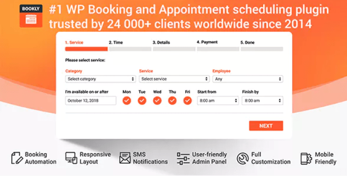 Bookly pro – appointment booking and scheduling plugin wordpress