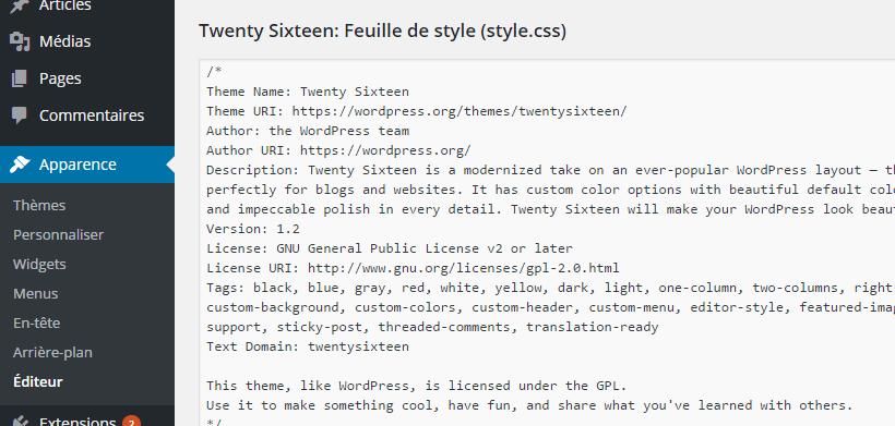 Feuille de style WordPress