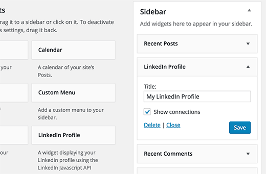 Linkedin widget pour profil sur WordPress