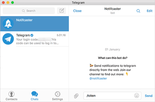 Notification jeton Telegram sur WordPress