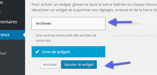 ajouter le widget