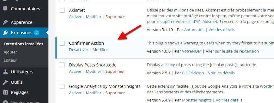 confirmer action plugin WordPress