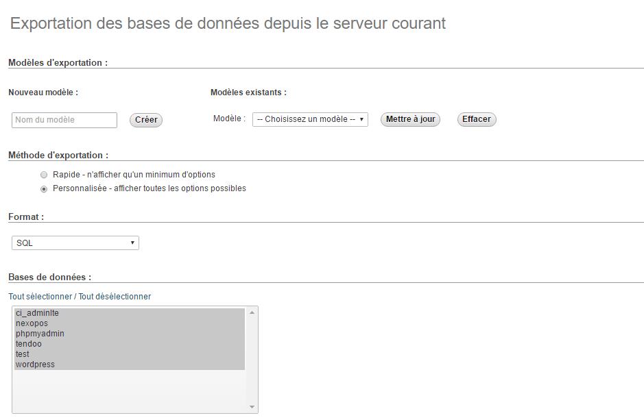 exportation base de données PhpmyAdmin