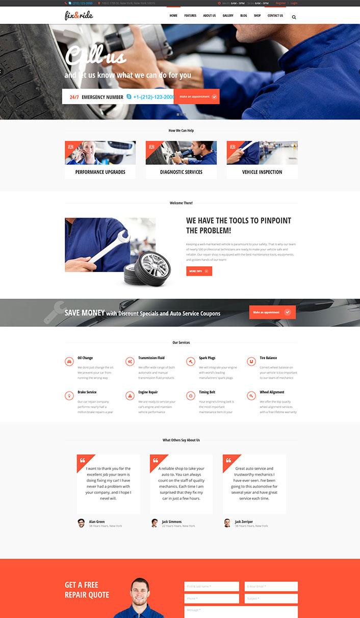 Fix & Ride - Un tema de WordPress para el sitio / Auto garaje ...