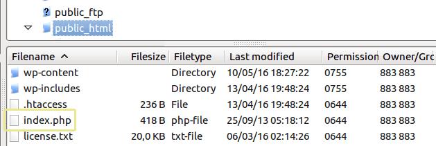 public-html-index-php organisation des fichiers wordpress