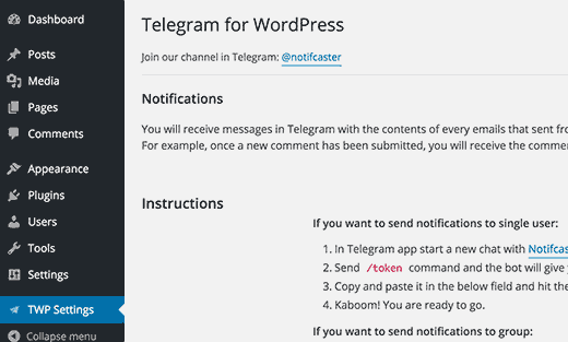 telegram sur WordPress tableau de bord