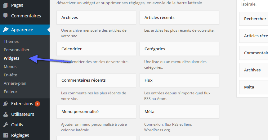 widgets wordpress tableau de bord