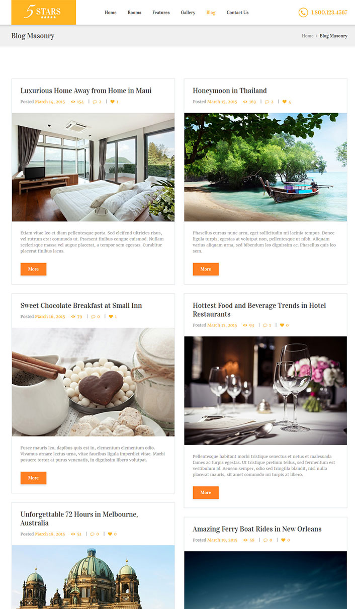 5 stars un th me wordpress pour site web d 39 h tel for Site web pour hotel