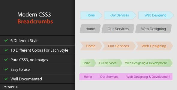Modern CSS3 Breadcrumbs