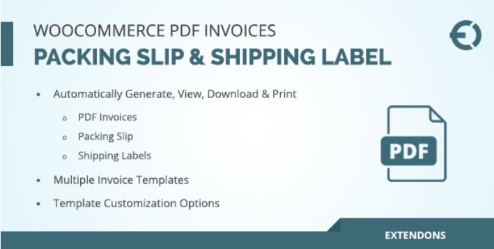 Woocommerce pdf invoice packing slip shipping label
