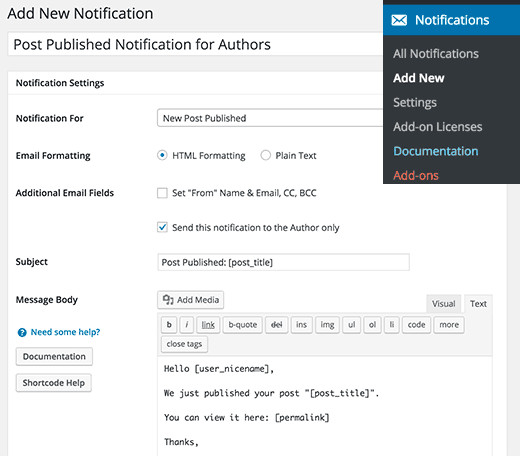 better notification plugin pour notification par email