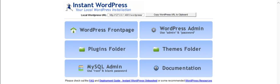 instant WordPrss tableau de bord